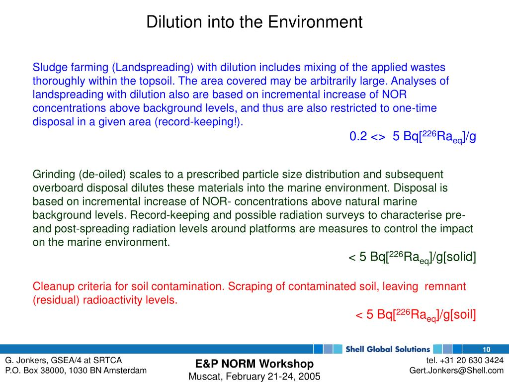 Dilution into the Environment