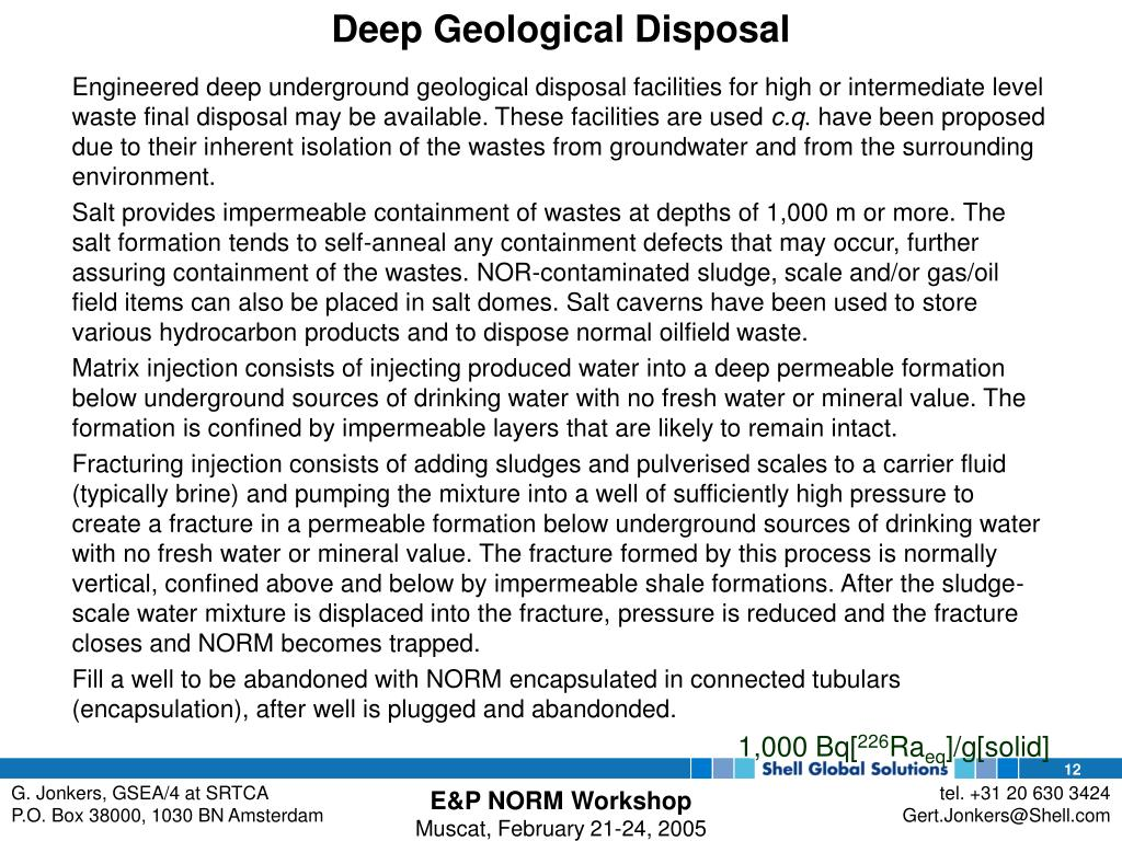 Deep Geological Disposal