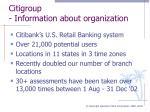 citigroup information about organization