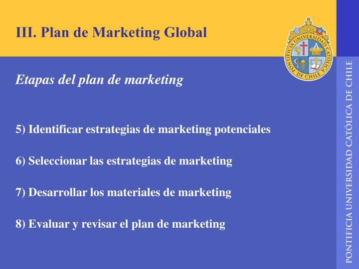 III. Plan de Marketing Global