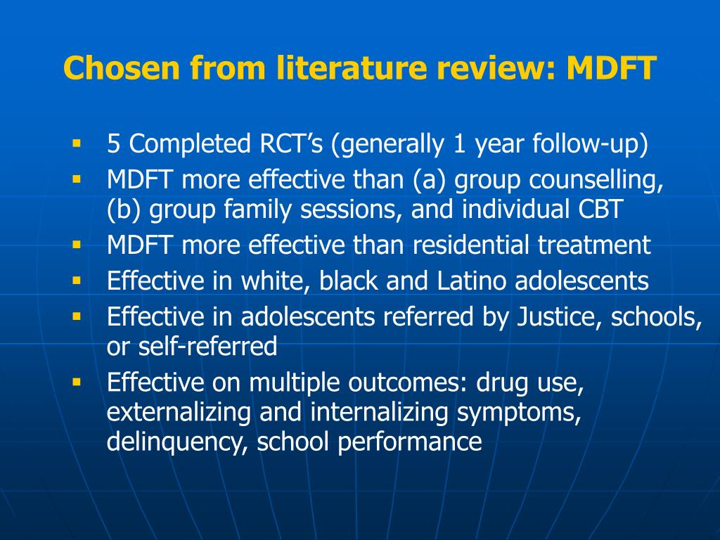 Chosen from literature review: MDFT