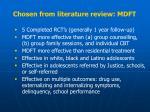 chosen from literature review mdft