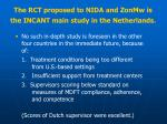 t he rct proposed to nida and zonmw is the incant main study in the netherlands