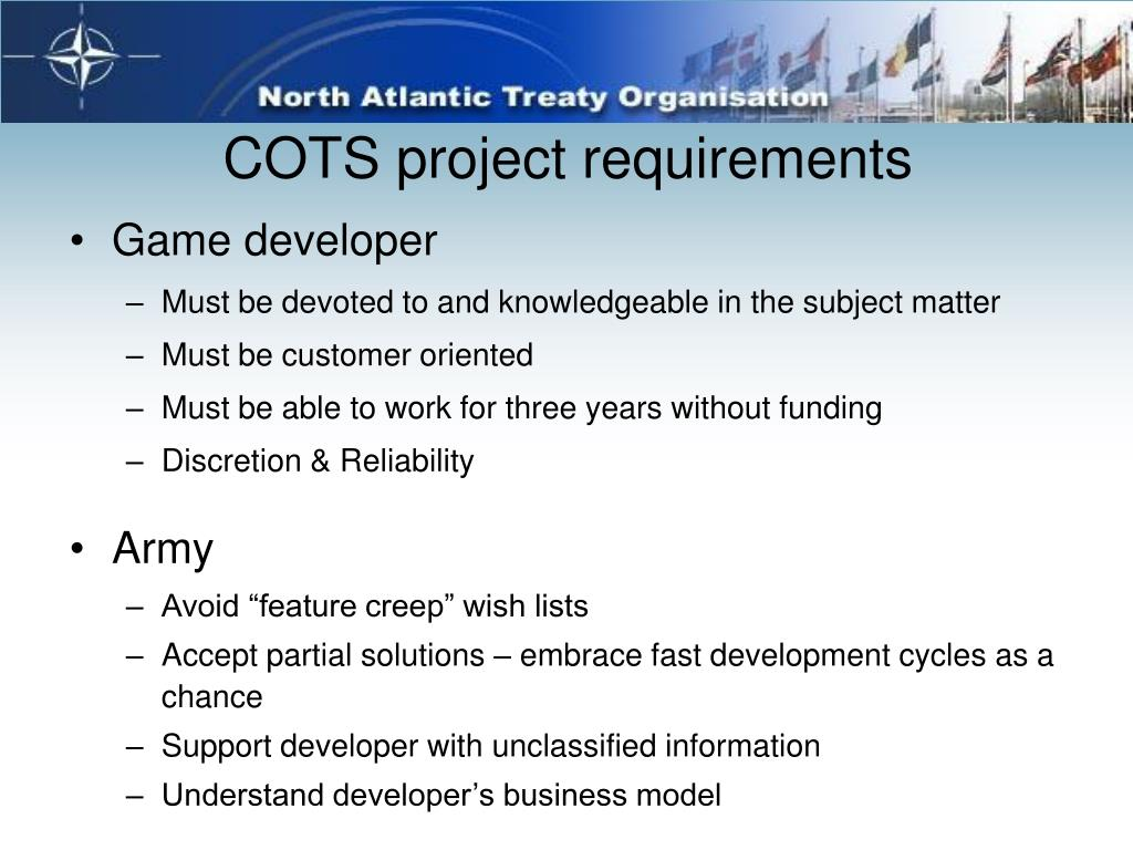 COTS project requirements