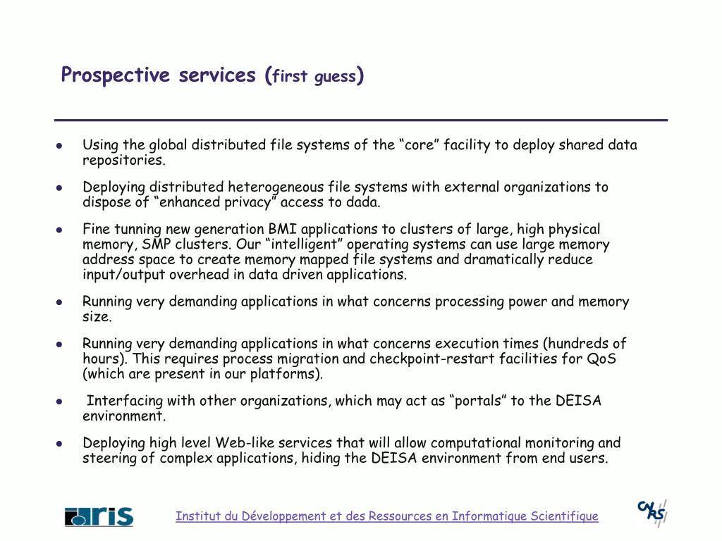 Prospective services (