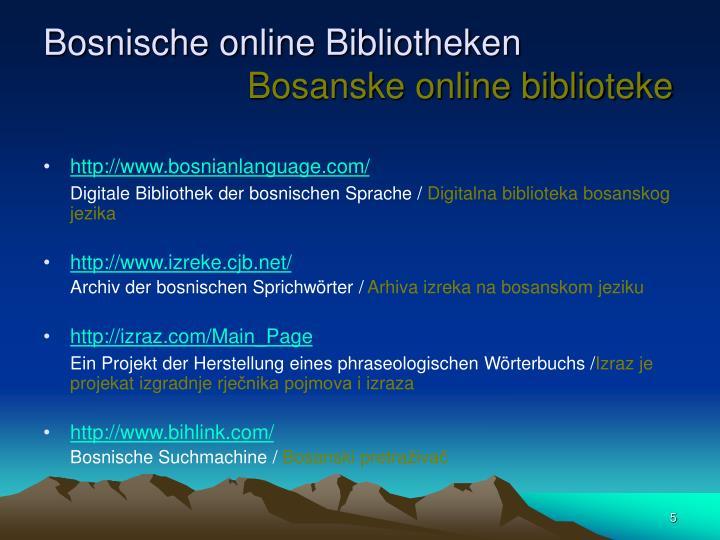 Bosnische online Bibliotheken