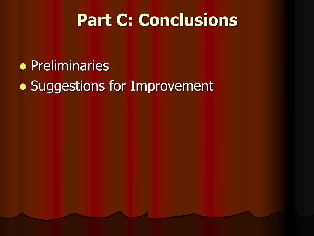 Part C: Conclusions