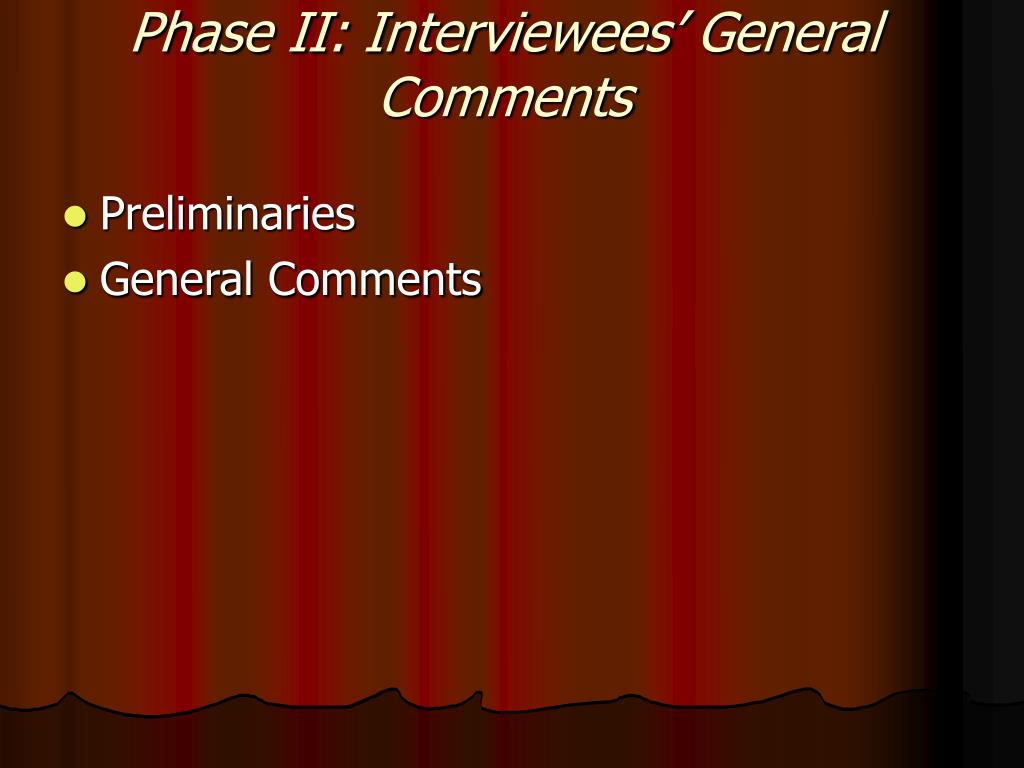 Phase II: Interviewees' General Comments