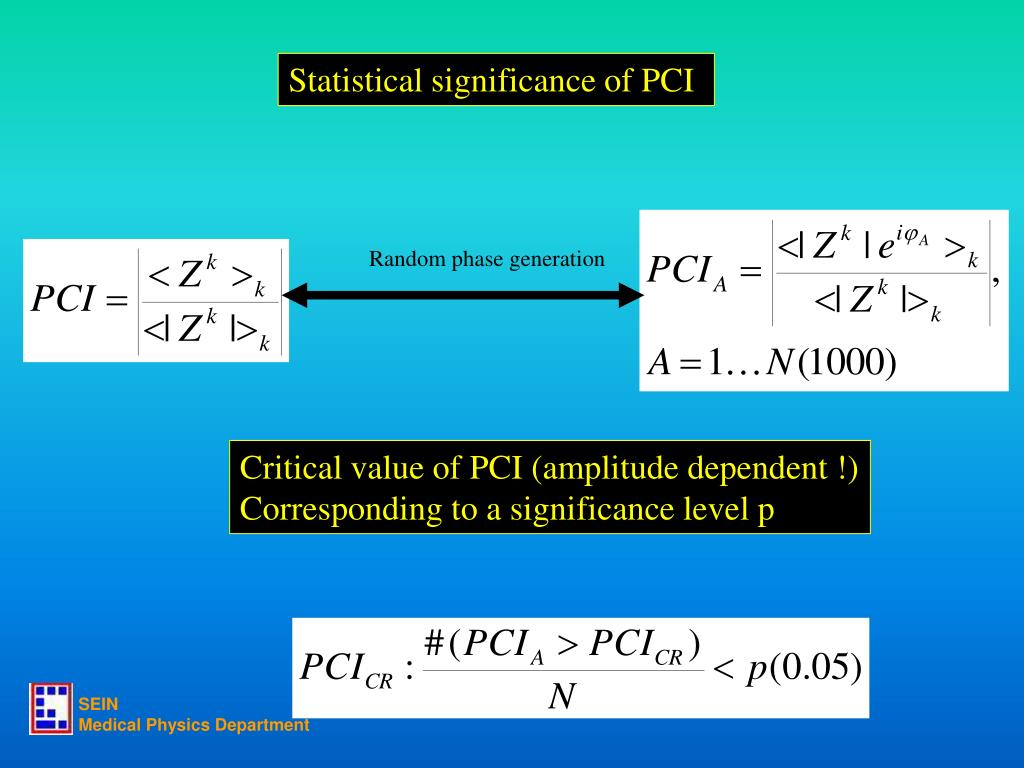 Statistical significance of PCI