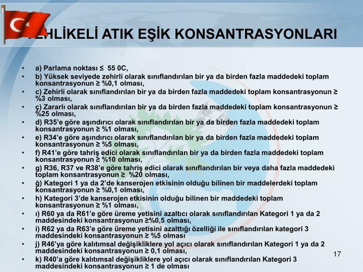 TEHLİKELİ ATIK EŞİK KONSANTRASYONLARI