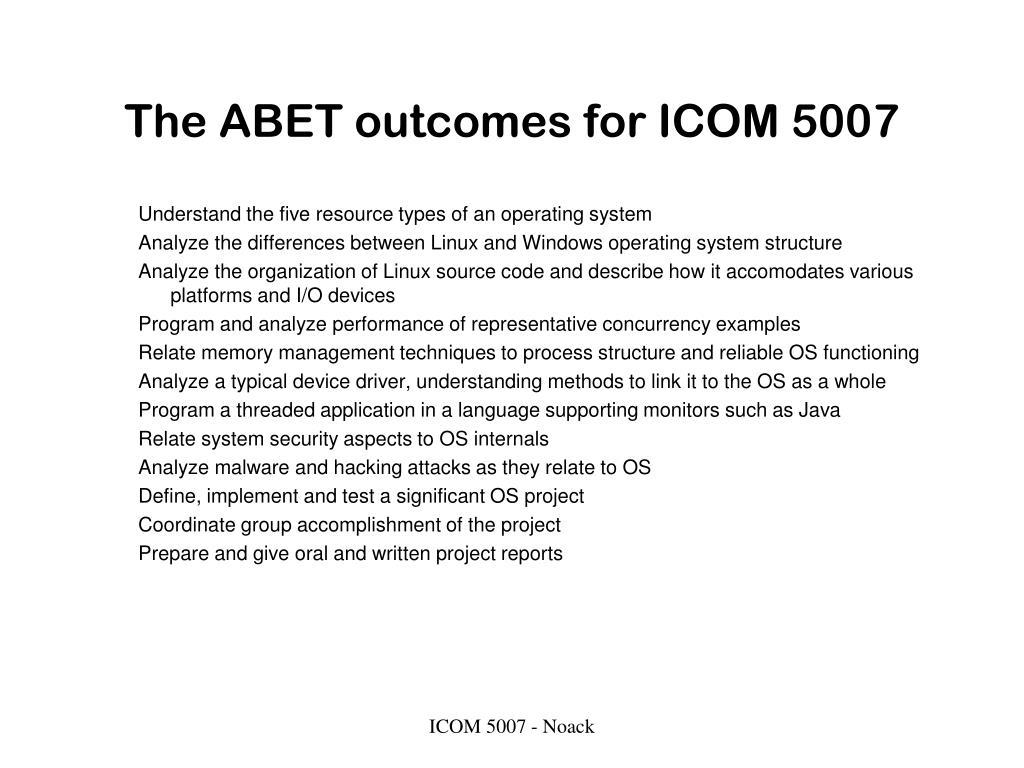 The ABET outcomes for ICOM 5007