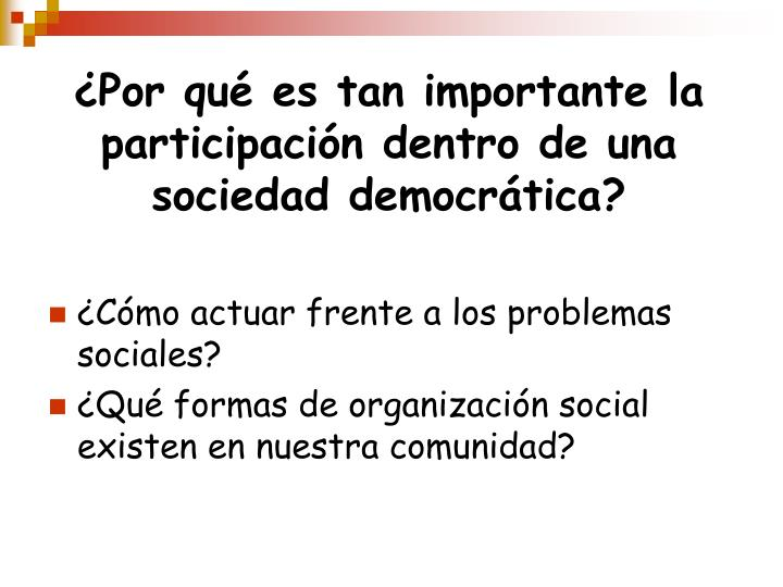 ¿Por qué es tan importante la participación dentro de una sociedad democrática?