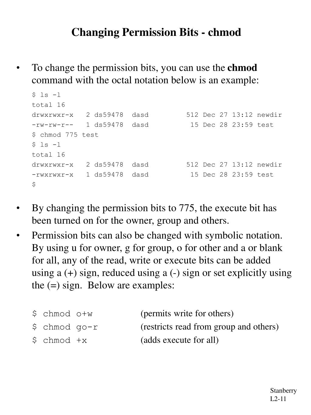 Changing Permission Bits - chmod
