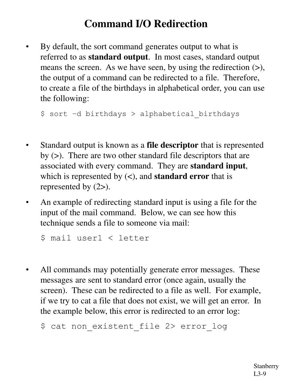 Command I/O Redirection