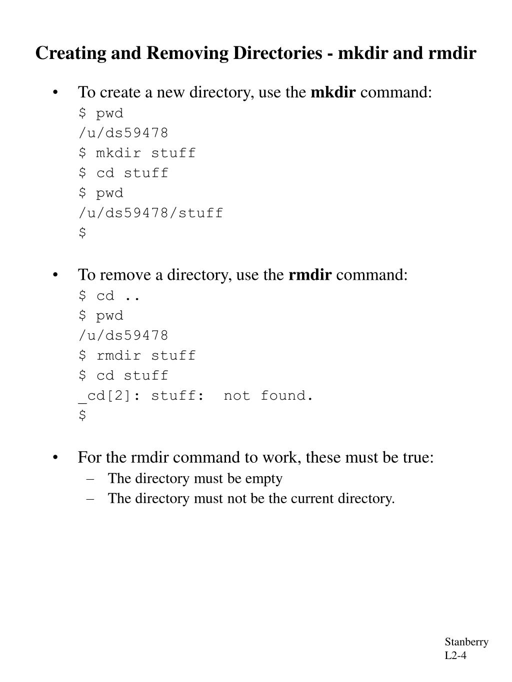 Creating and Removing Directories - mkdir and rmdir