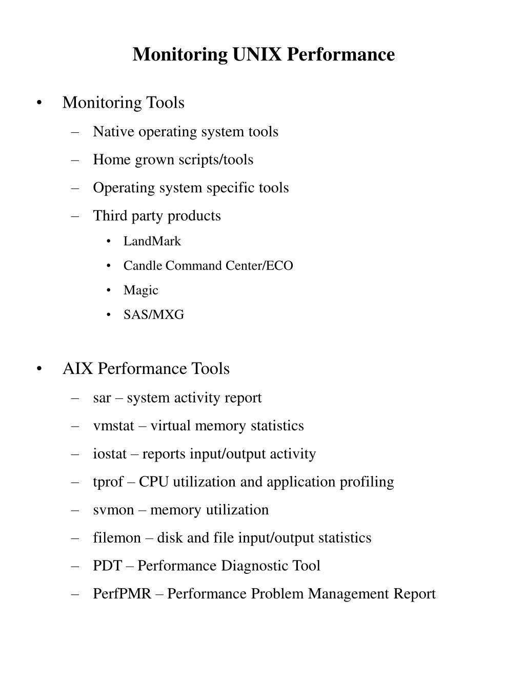 Monitoring UNIX Performance