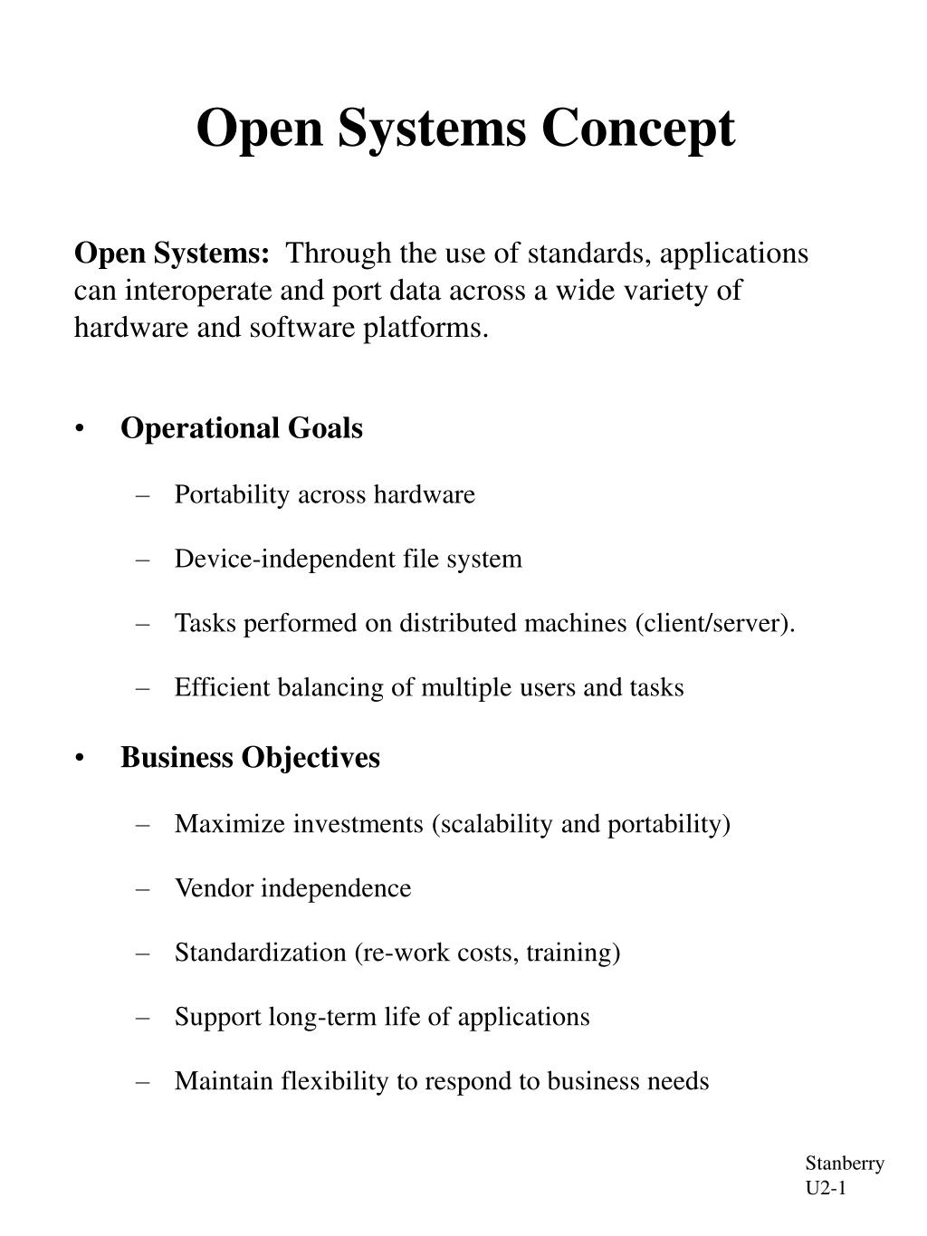 Open Systems Concept