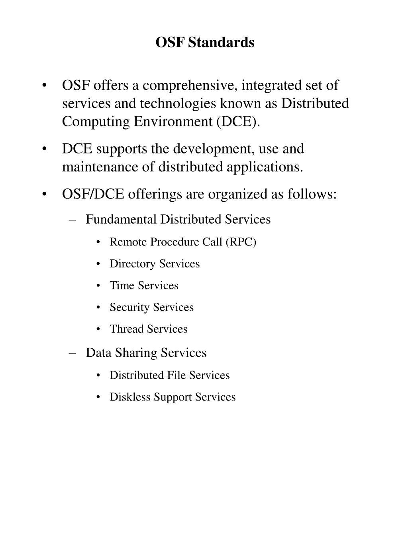 OSF Standards