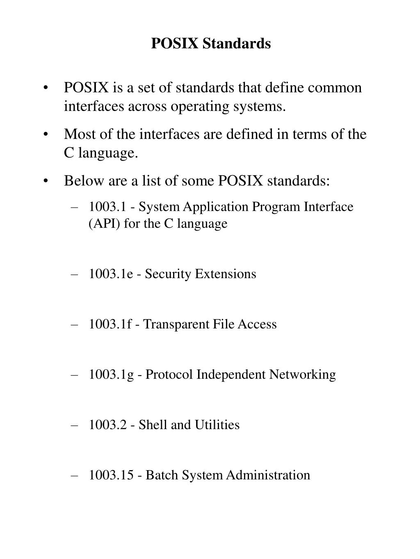 POSIX Standards