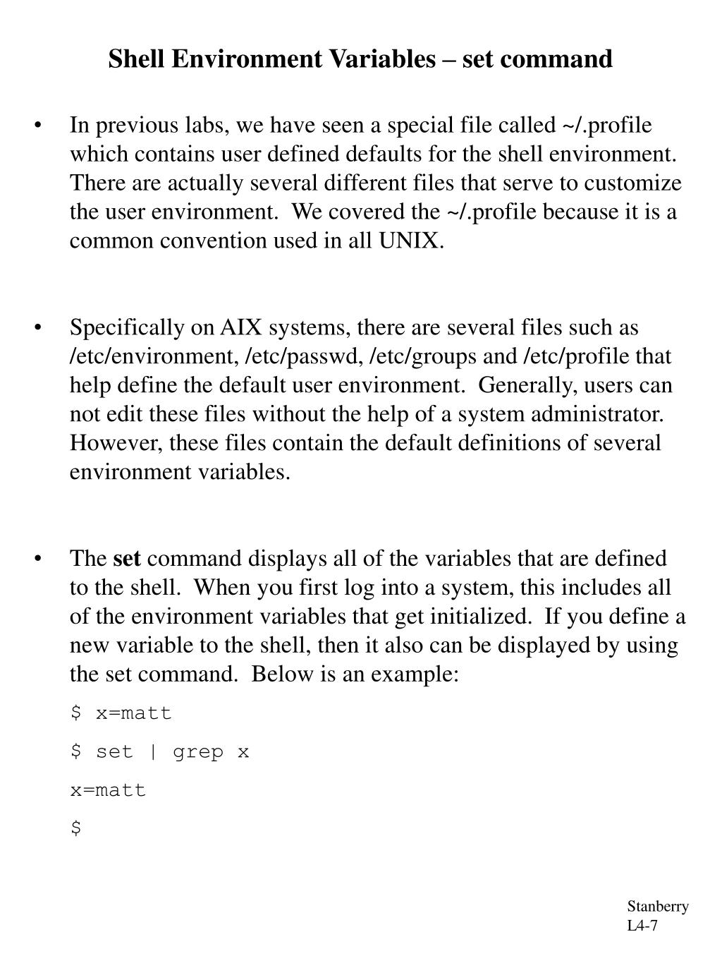 Shell Environment Variables – set command