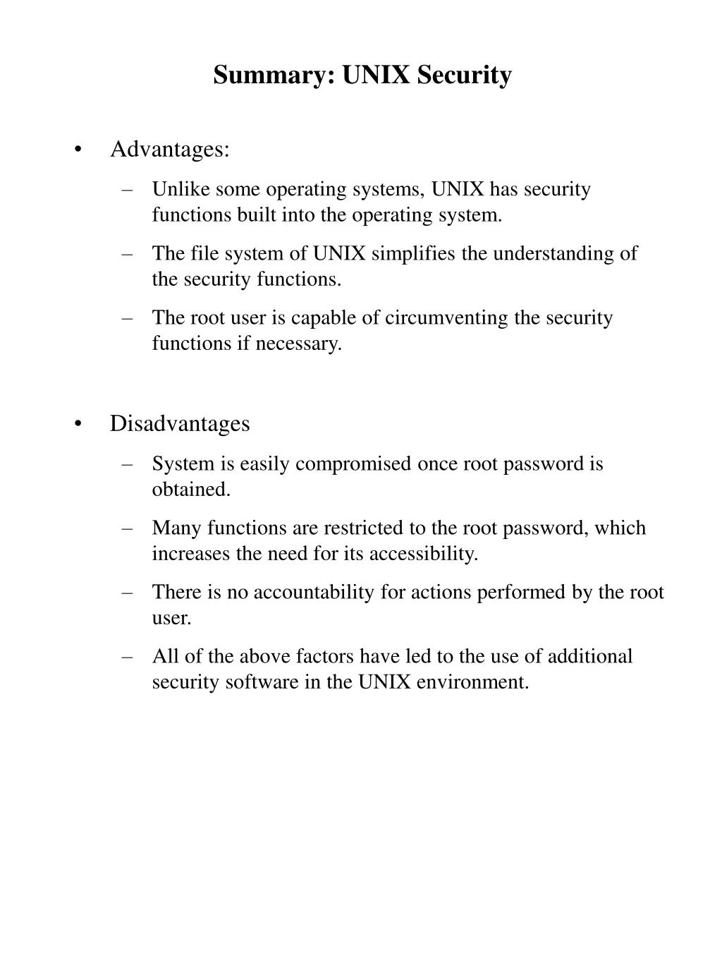 Summary: UNIX Security