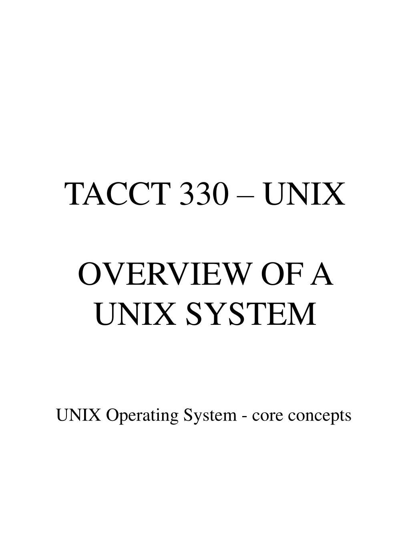 TACCT 330 – UNIX