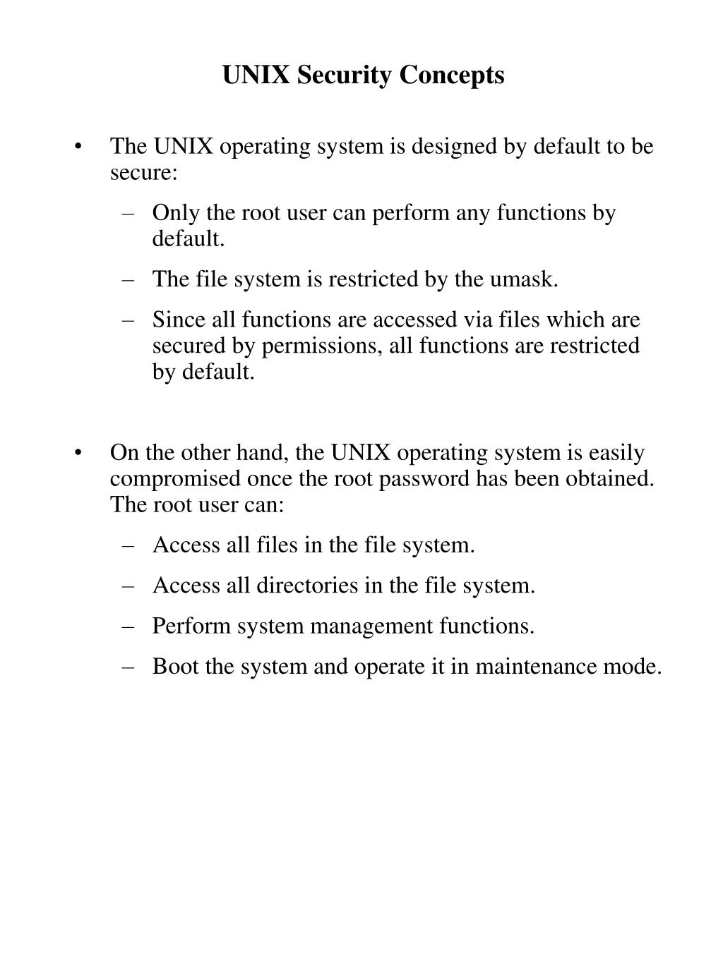UNIX Security Concepts