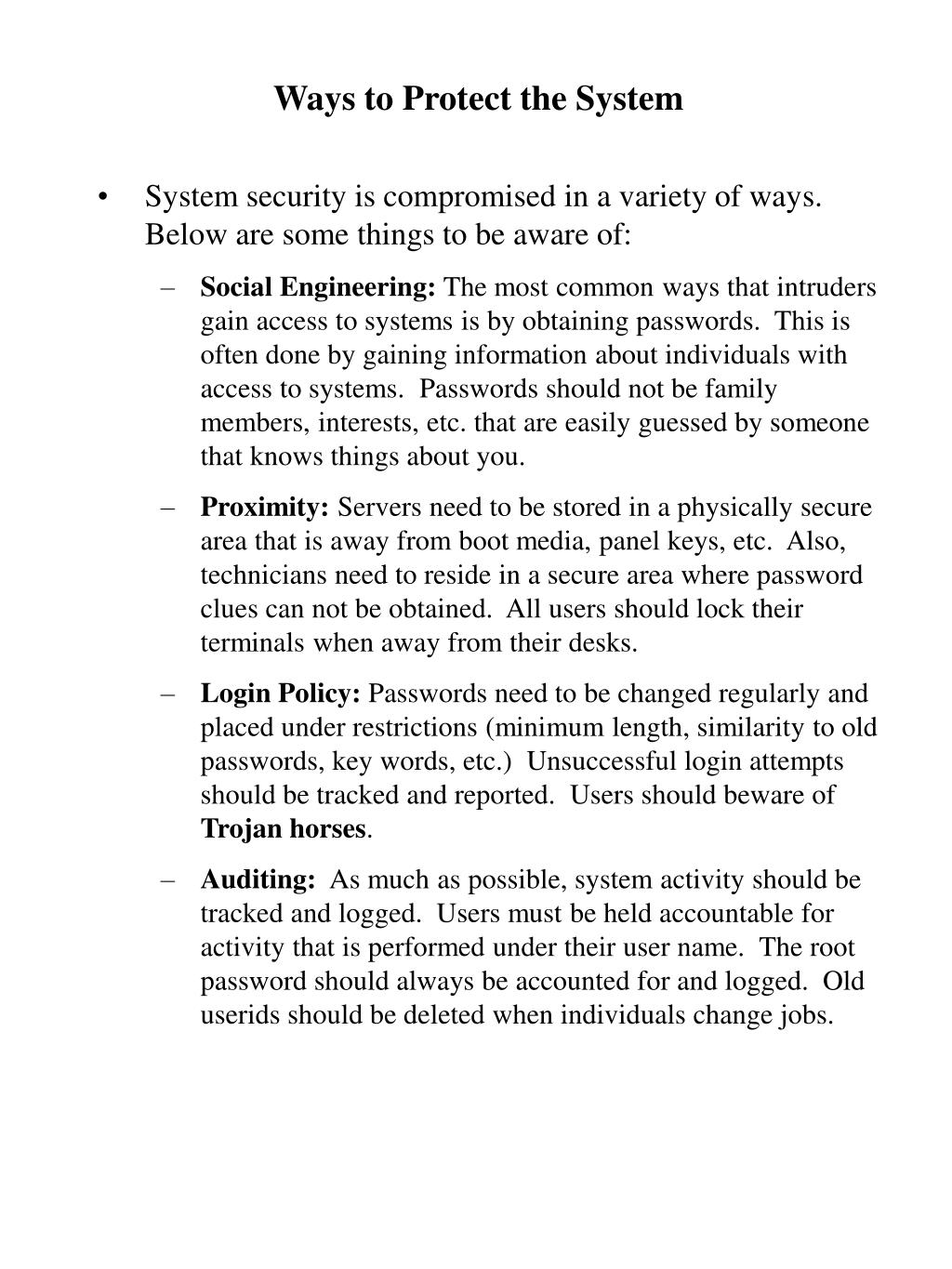 Ways to Protect the System