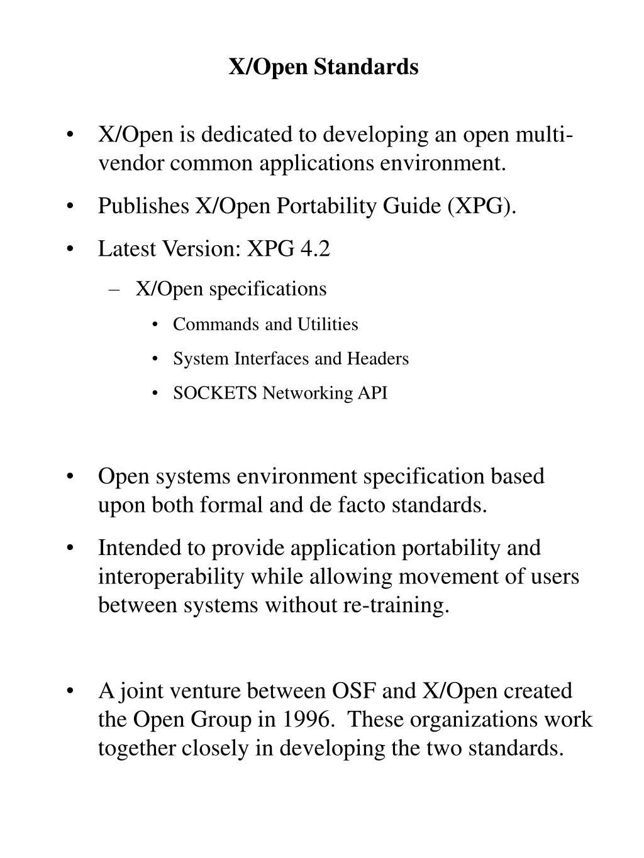X/Open Standards