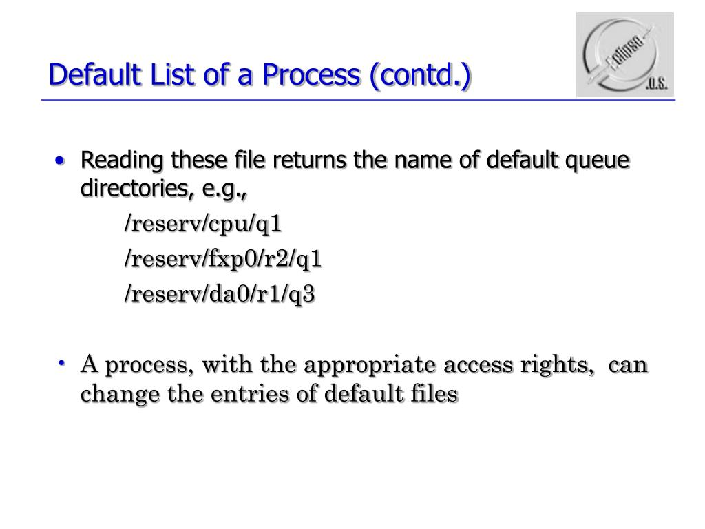 Default List of a Process (contd.)