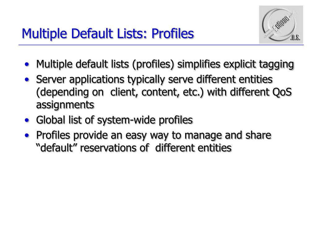 Multiple Default Lists: Profiles