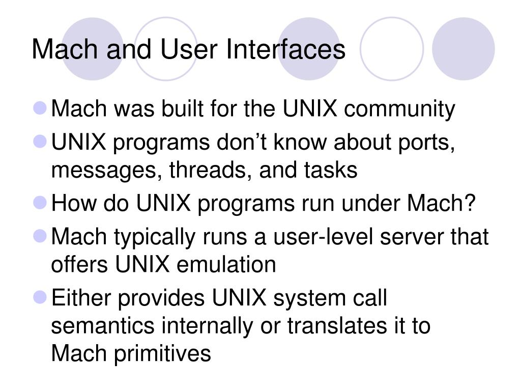 Mach and User Interfaces