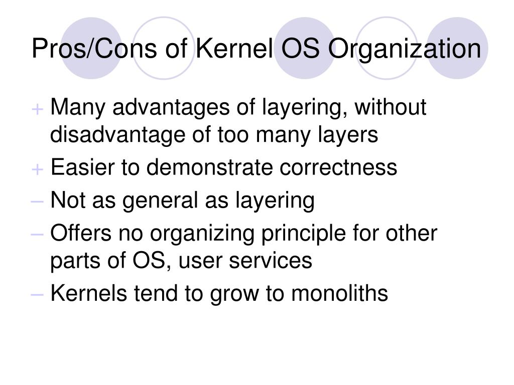 Pros/Cons of Kernel OS Organization