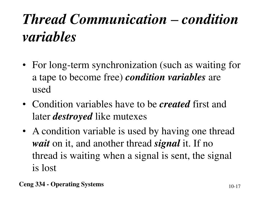 Thread Communication – condition variables