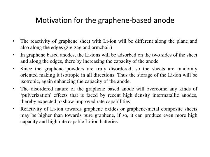 Motivation for the graphene-based anode