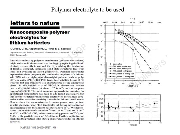 Polymer electrolyte to be used
