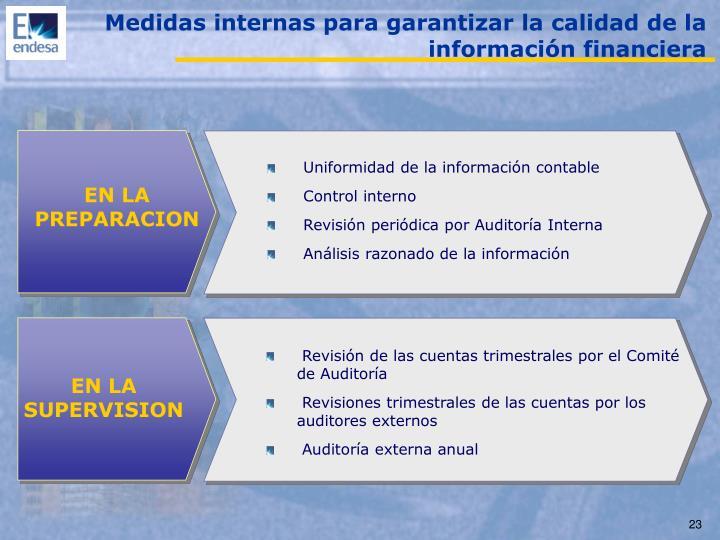 Medidas internas para garantizar la calidad de la información financiera