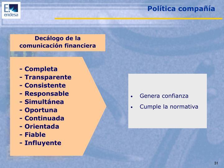 Política compañía