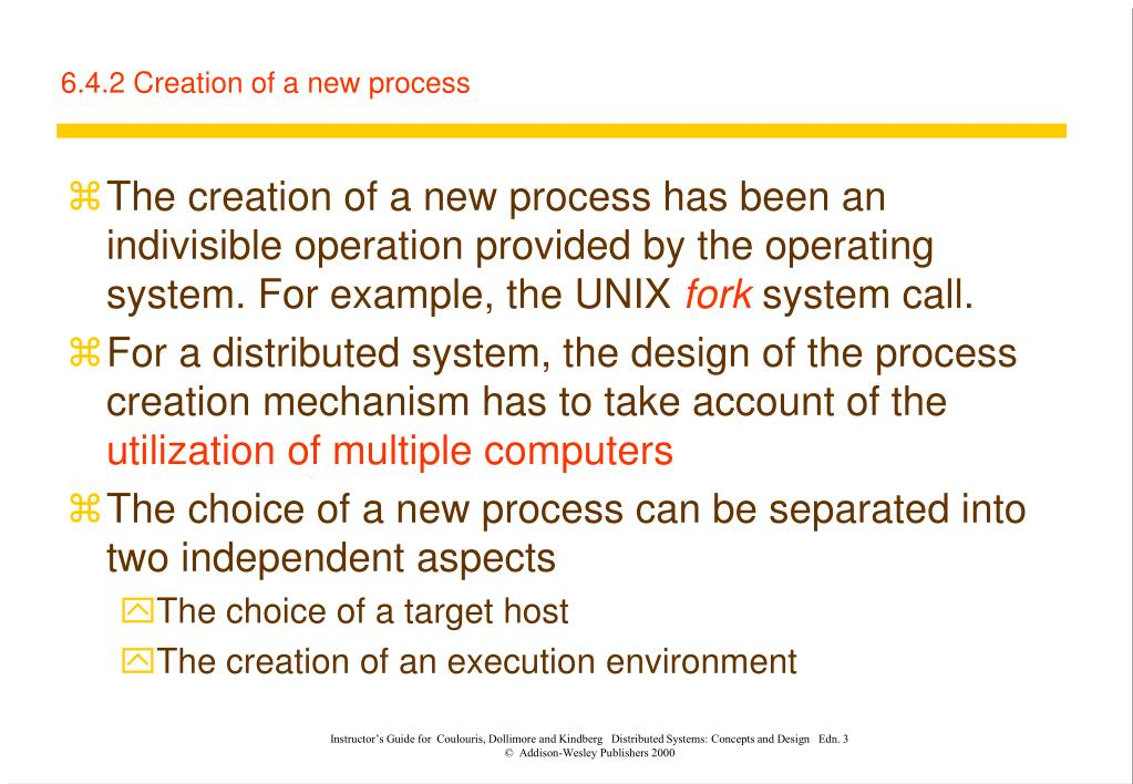 6.4.2 Creation of a new process