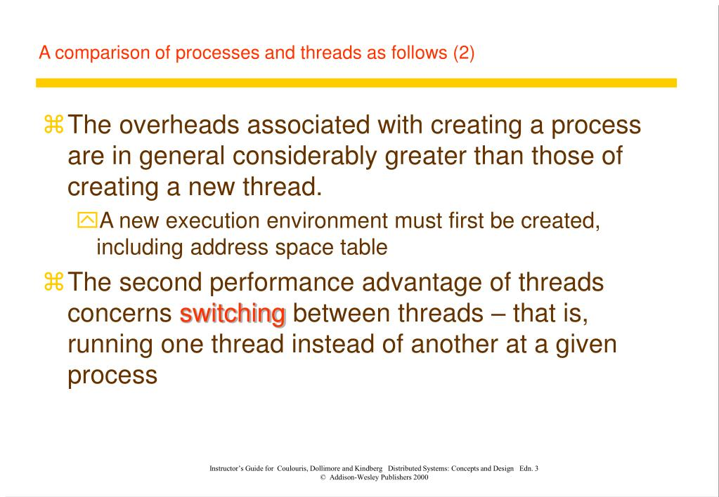 A comparison of processes and threads as follows (2)