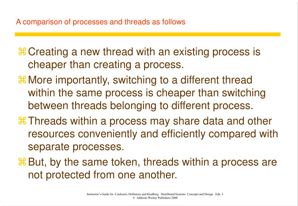 A comparison of processes and threads as follows