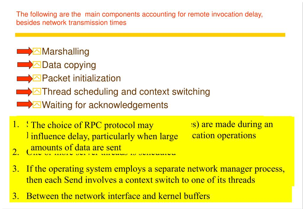 The following are the  main components accounting for remote invocation delay, besides network transmission times