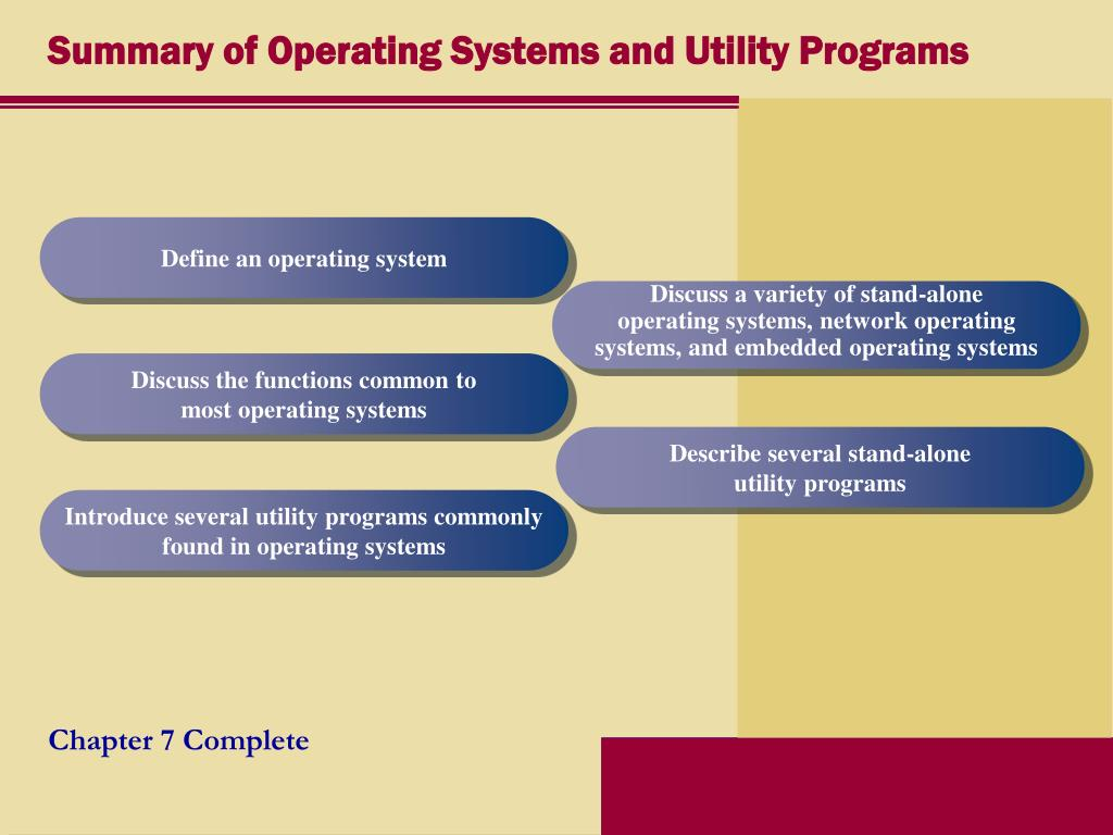 Summary of Operating Systems and Utility Programs