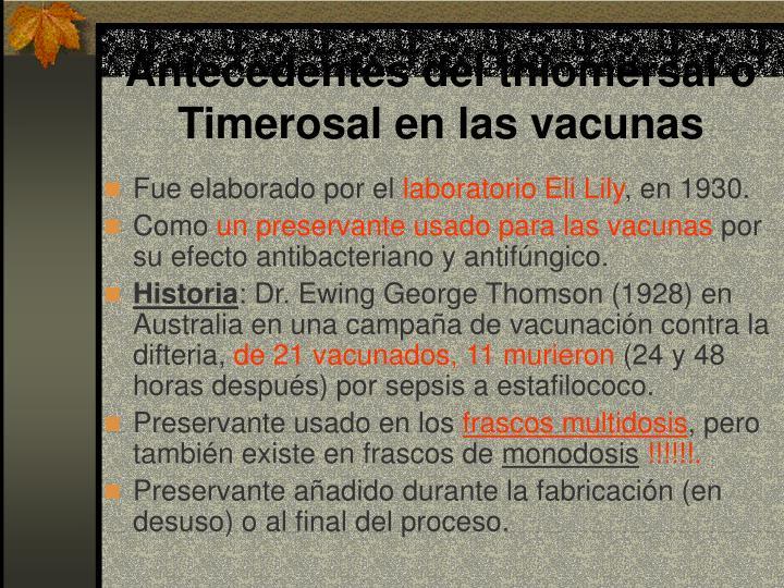 Antecedentes del thiomersal o Timerosal en las vacunas