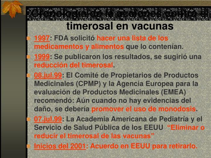 Cronología de la acciones contra el timerosal en vacunas
