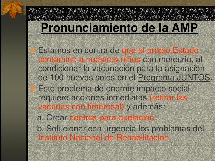Pronunciamiento de la AMP