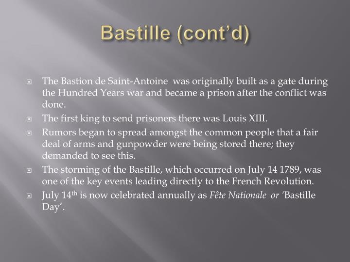 Bastille (cont'd)