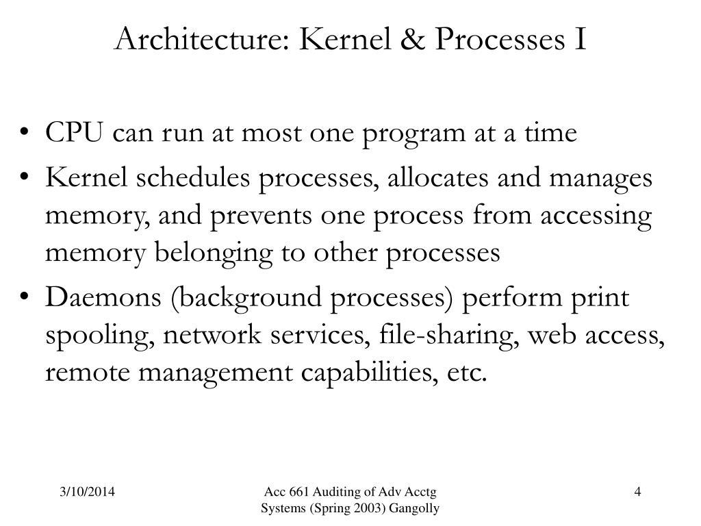 Architecture: Kernel & Processes I