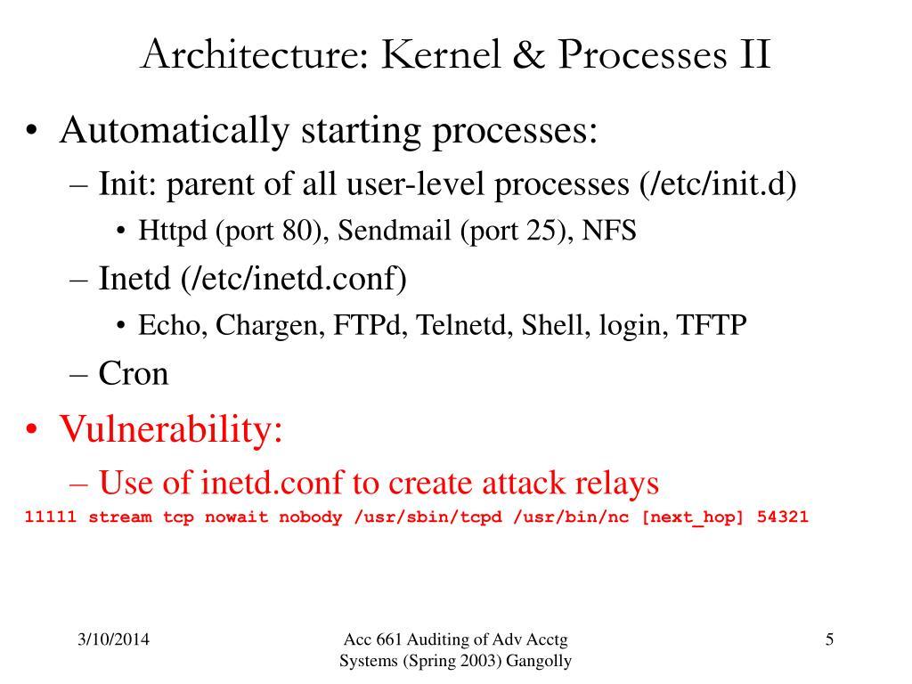 Architecture: Kernel & Processes II