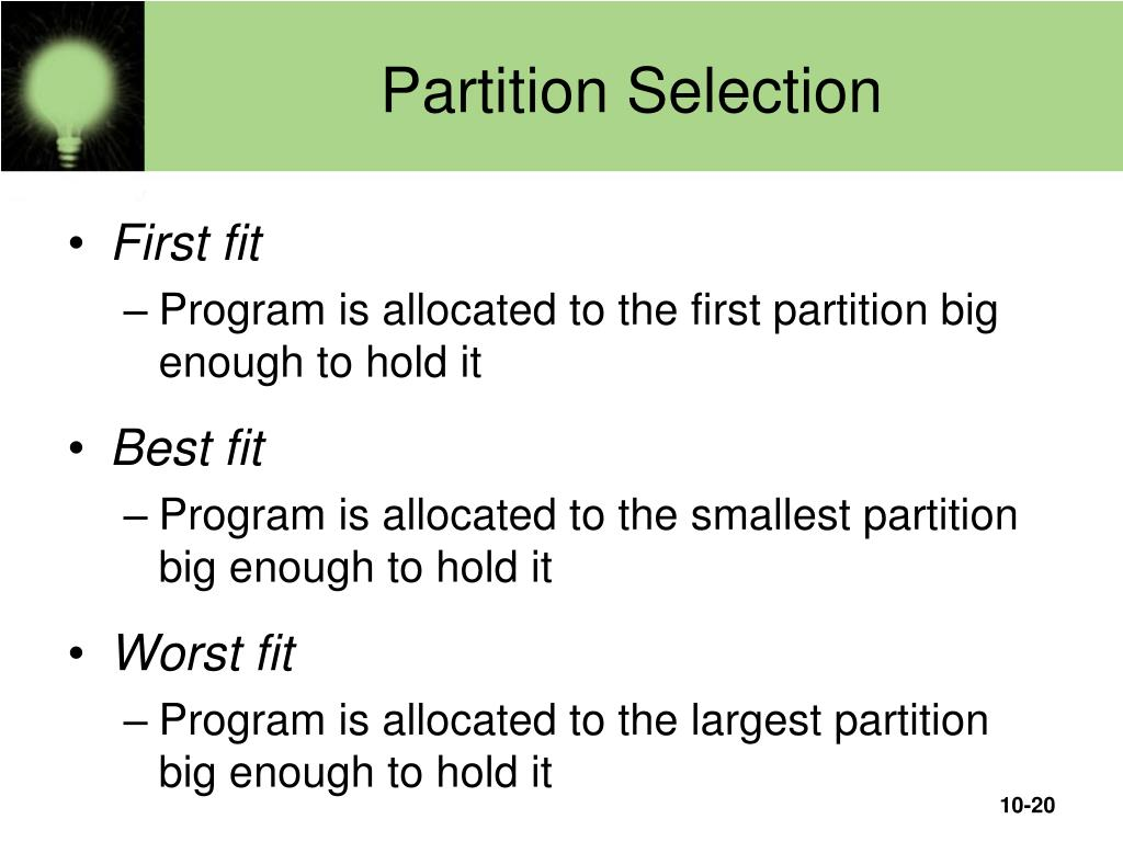 Partition Selection